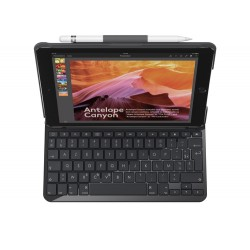Logitech Slim Folio mobile device keyboard AZERTY French Black Bluetooth